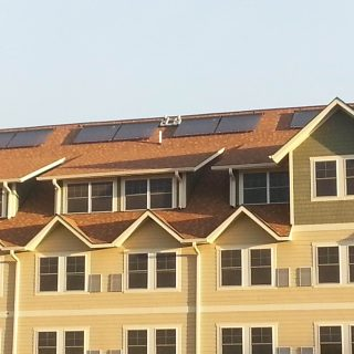 Condos with solar panels on roof